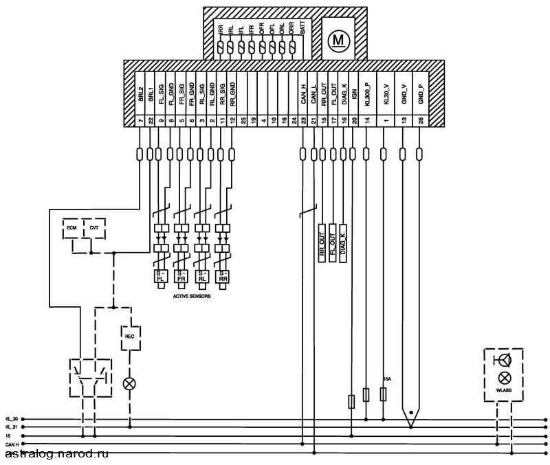 Схема abs opel astra h